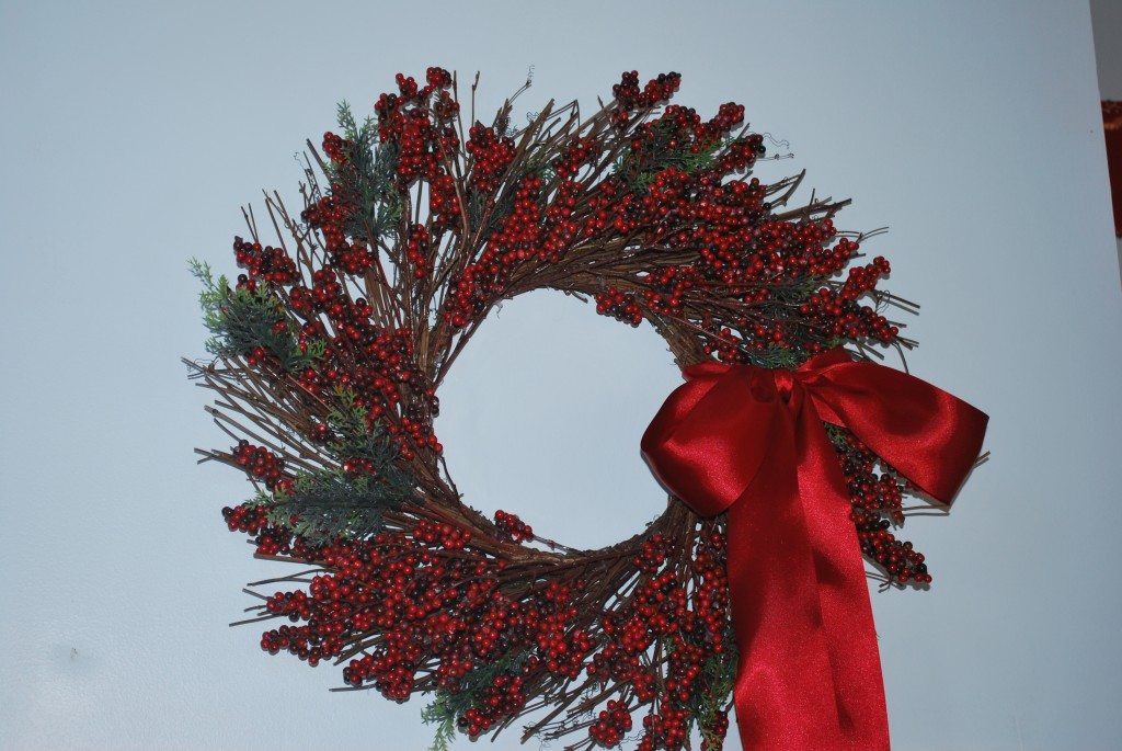 Red Wreath in Kitchen