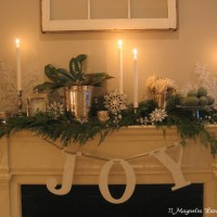 white and green mantel
