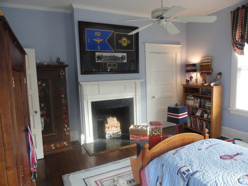 vintage accents in red white blue boys bedroom