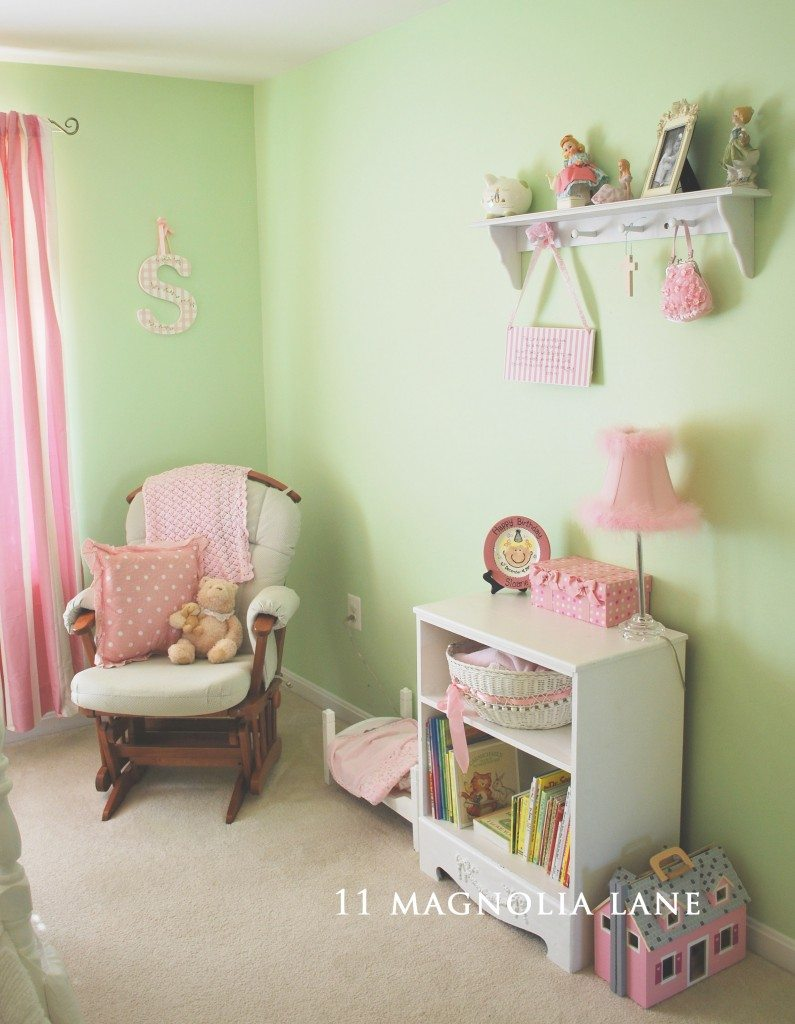 pink green little girls bedroom