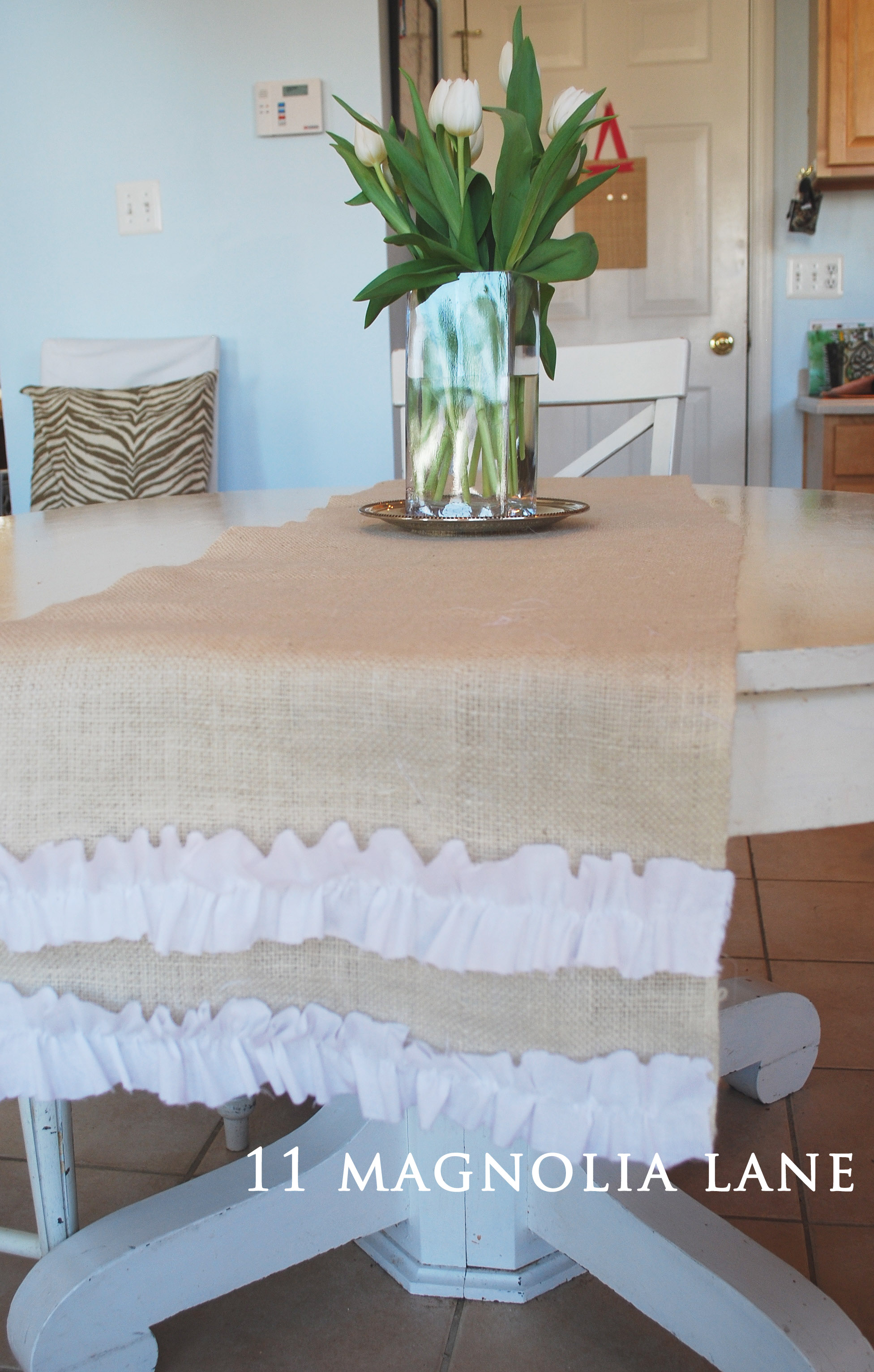 Ruffled Burlap Table Runner