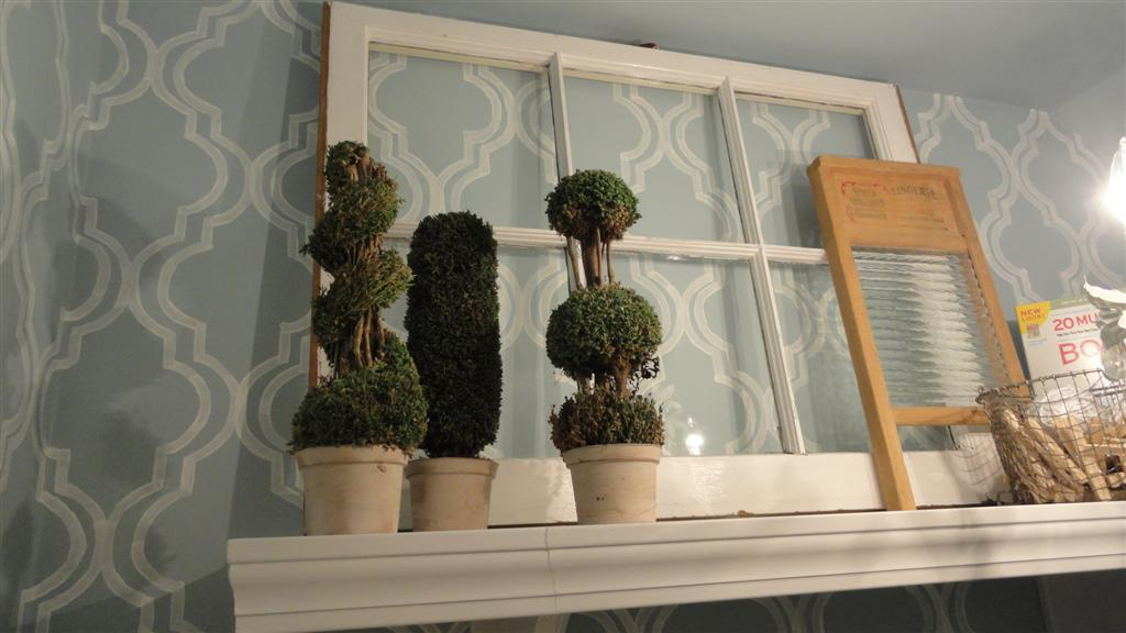 TJ Maxx topiaries and flea market window and washboard.