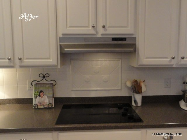 painted tile backsplash and exhaust hood