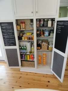 black and white polkadot chalkboard pantry