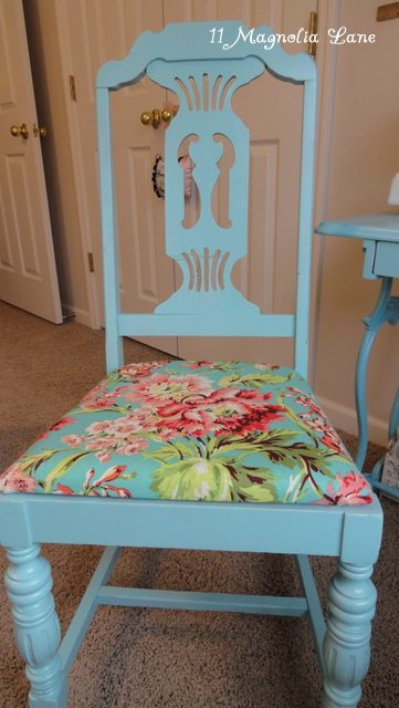 Old chair recovered with Amy Butler's Love Bliss fabric in teal.