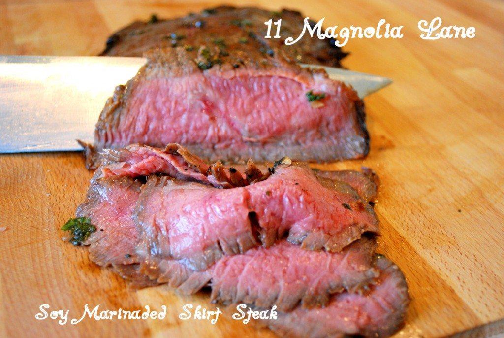 ... Soy Marinated Skirt Steak with Sugar Snap Peas and Asaparagus Stir Fry