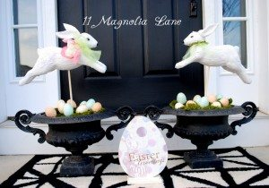 Easter porch decor at 11 Magnolia Lane