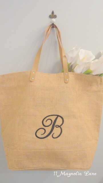 Spring Giveaway!  ~Monogrammed Burlap Tote Bag~ Plus Updated Home Tour