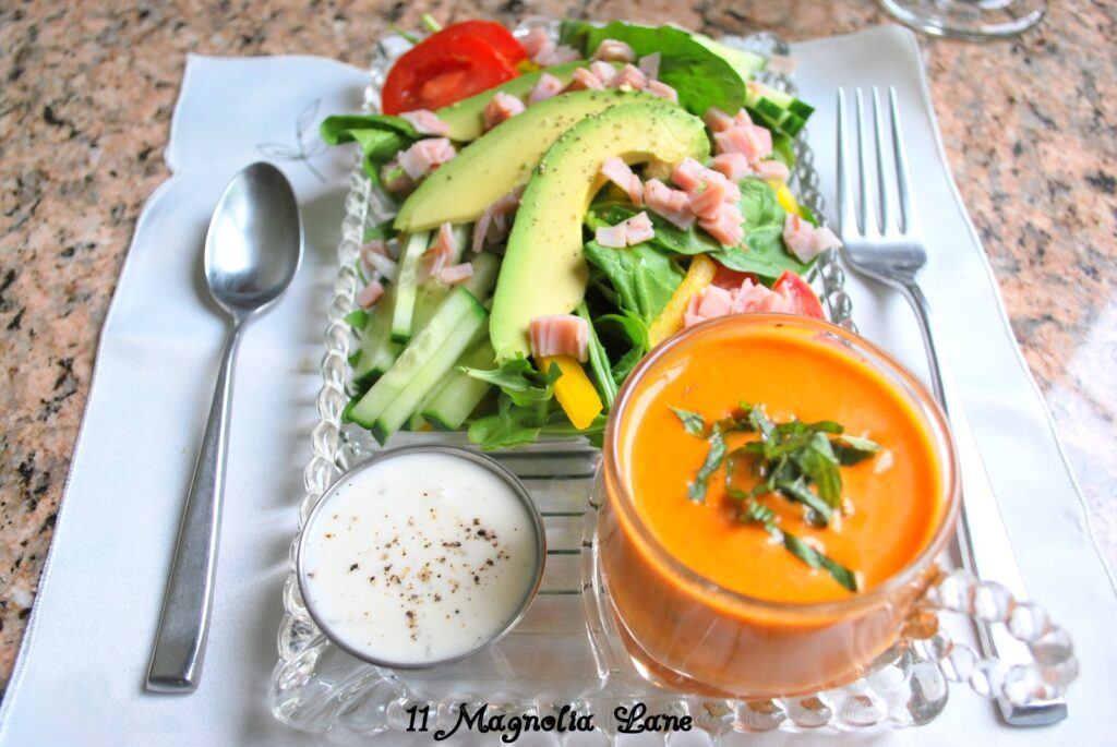 In the Kitchen with 11 Magnolia Lane, Tomato Basil Bisque Soup & Avocado Chef's Salad