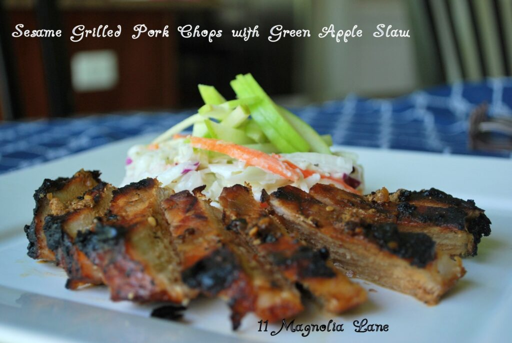 In the Kitchen with 11 Magnolia Lane: Sesame Grilled Pork Chops with Green Apple Slaw