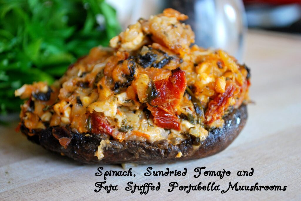Spinach, Sun Dried Tomato and Feta Stuffed Portabella Mushrooms