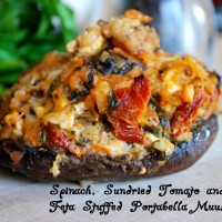 Spinach, Sundried Tomate and Feta Stuffed Portabella Mushrooms