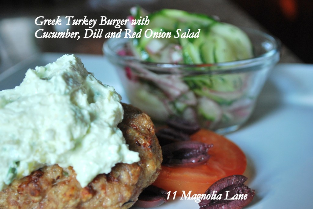 Greek Turkey Burger with Cucumber, Dill & Red Onion Salad