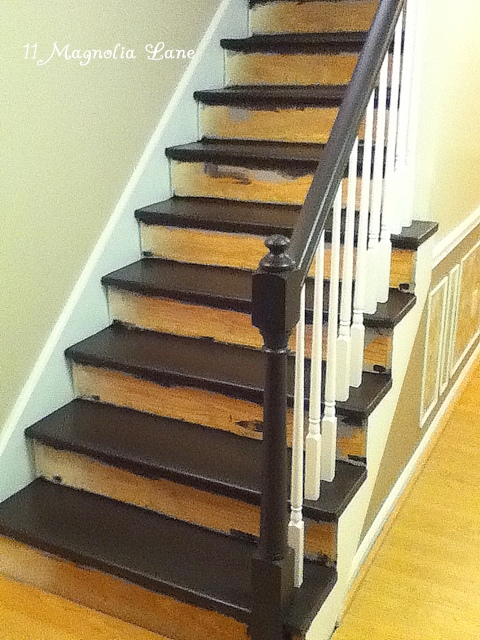 Painted Stair Treads Of Stair Redo With Painted Treads And Beadboard Risers 11