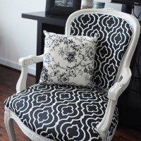 black white reupholstered chair