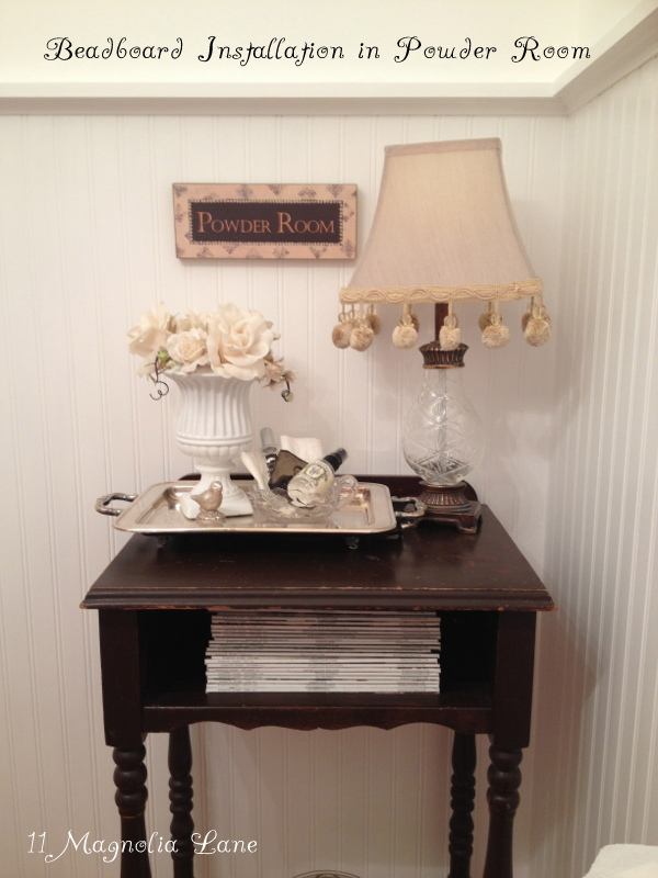 DIY white beadboard in powder room
