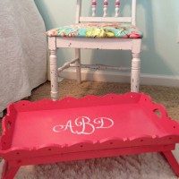 Watermelon pink monogrammed breakfast in bed tray (thrift store up cycle)