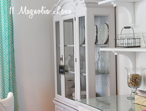Chalk painted hutch for kitchen storage