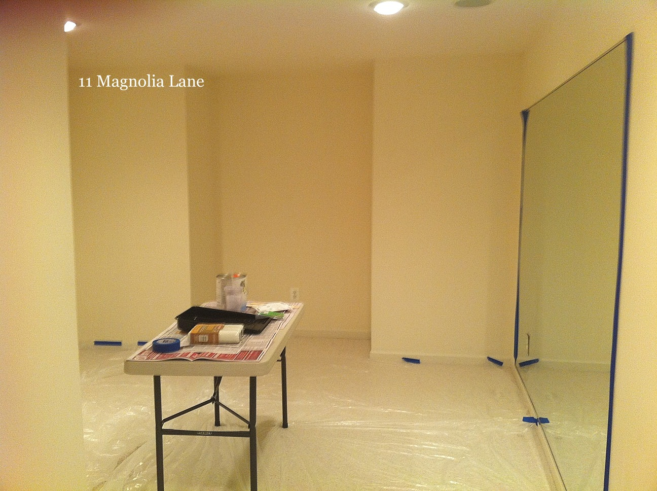 A basement sewing/craft room makeover in process