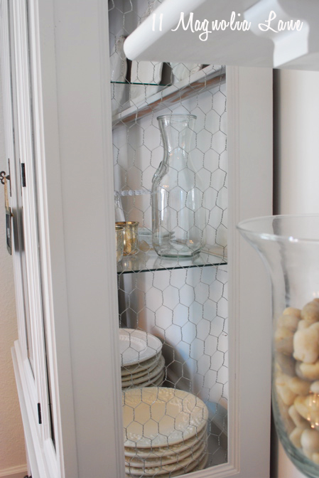 Chicken wire in kitchen hutch