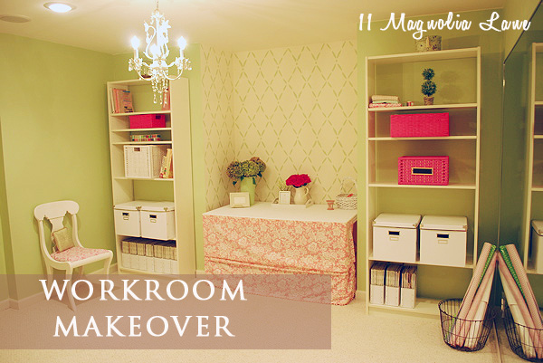 Pink and green workroom craftroom makeover