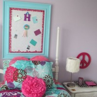 Big Girl Bedroom with New Custom Made Cork Board