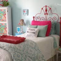 Hot pink wrought iron headboard