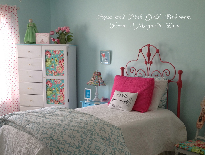 Girls Bedroom w/ Aqua Blue, Pink, Green, with Paris accents