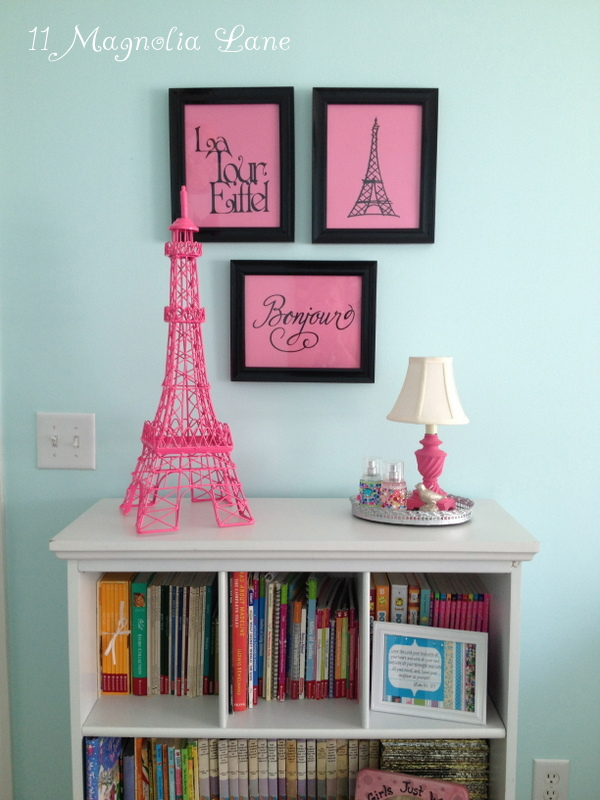 Girls Bedroom w/ Aqua Blue, Pink, Green, with Paris accents : 11 Magnolia Lane