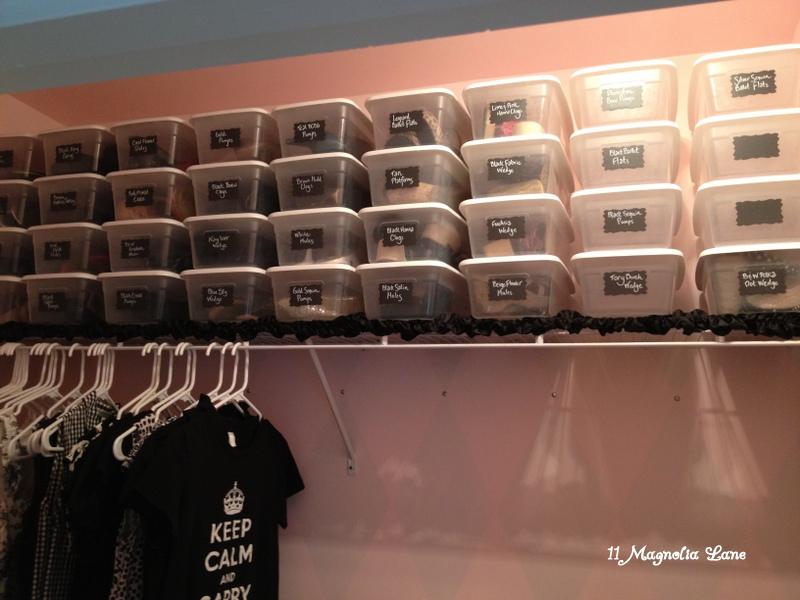 vinyl chalkboard labels plastic bins organize shoes in closet 11 magnolia lane. Black Bedroom Furniture Sets. Home Design Ideas