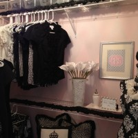 Black, white, and pink closet at 11 Magnolia Lane