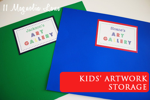 Kids' artwork storage folders