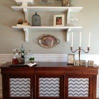 Progress in My Dining Room–Open Shelving and Chevrons!