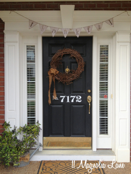 Thanksgiving front door at 11 Magnolia Lane.