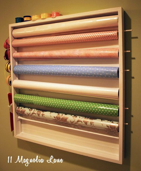 Diy Wall Mounted Wrapping Station In Craft Room 11