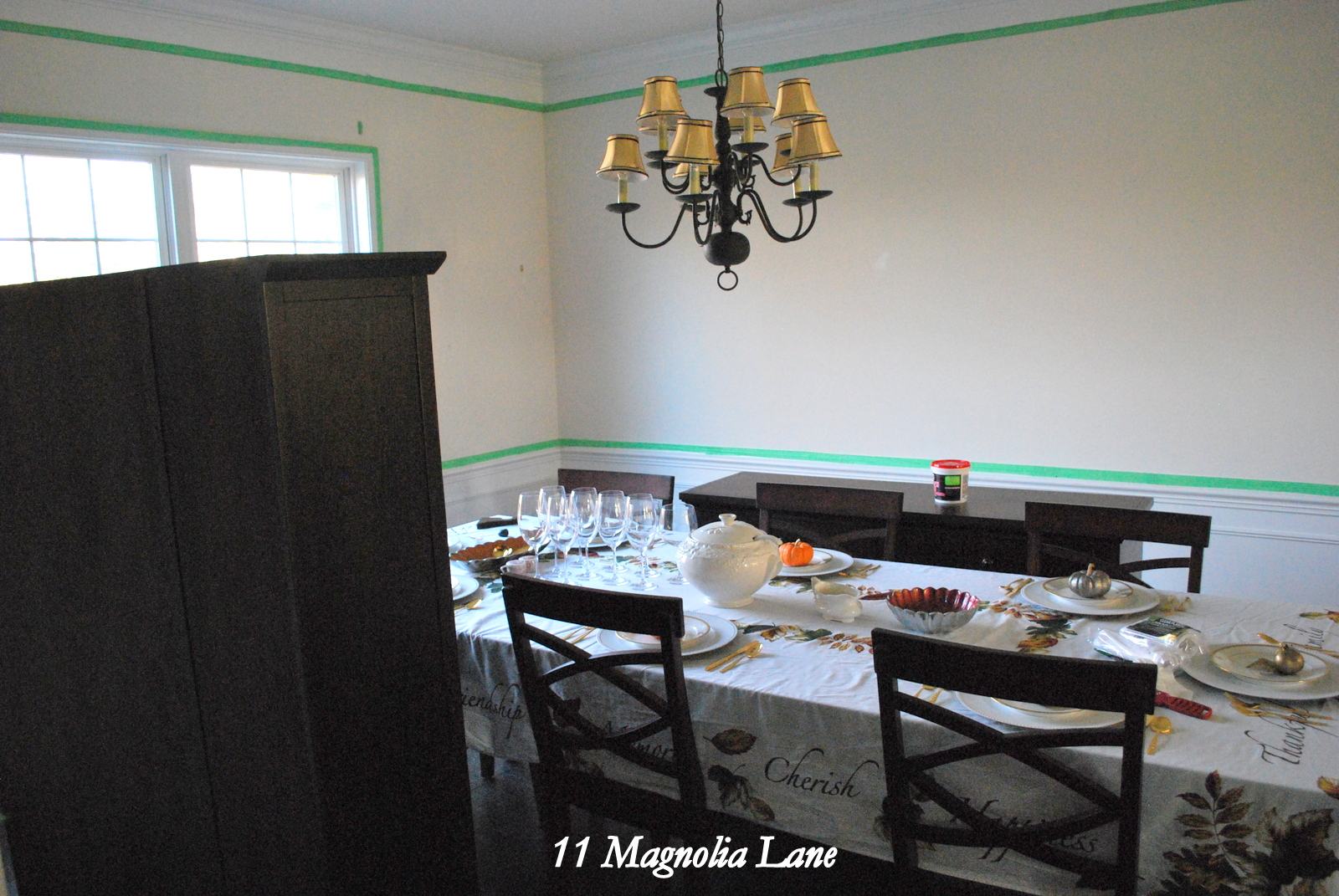 Holiday Makeover using Benjamin Moore Revere Pewter Paint