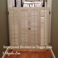 Vintage plantation shutters repurposed as doggie gate at 11 Magnolia Lane