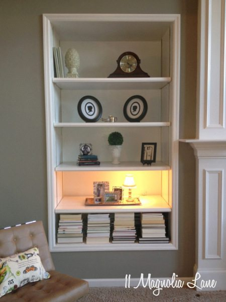 Built in bookshelves at 11 Magnolia Lane