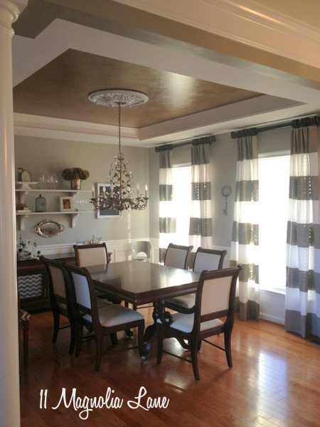 Dining Room Update–Painted Curtains