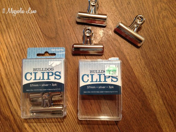 Bulldog clips from Hobby Lobby