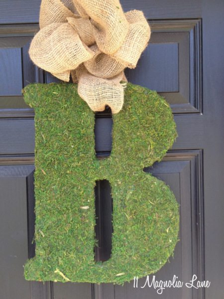 DIY moss-covered initial | 11 Magnolia Lane