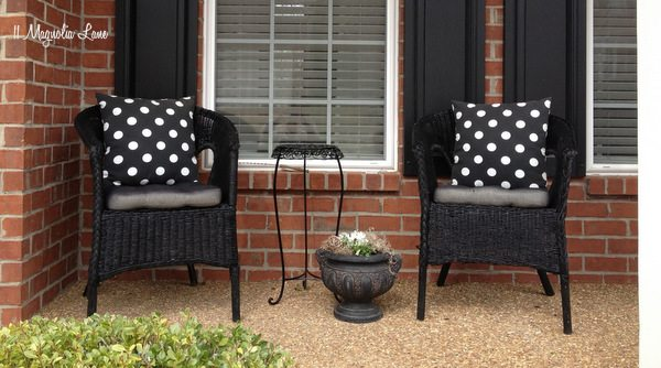 Black and white front porch at 11 Magnolia Lane