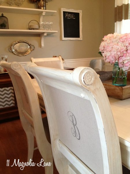 Painted dining room chairs at 11 Magnolia Lane