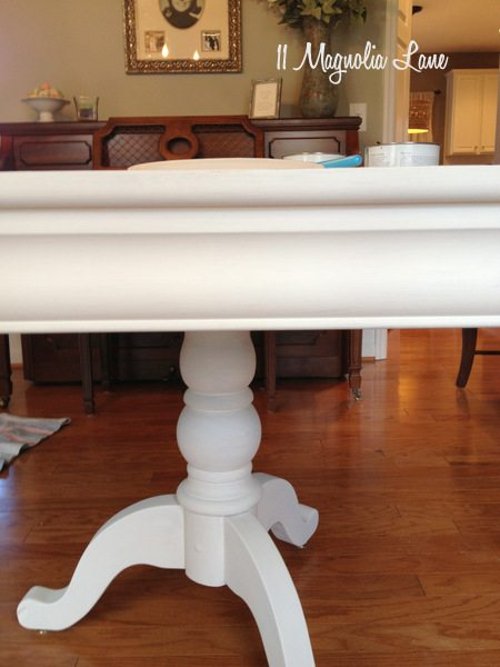 white chalk painted dining room table monogrammed chairs 11