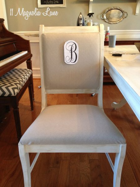 Monogram on front of chair