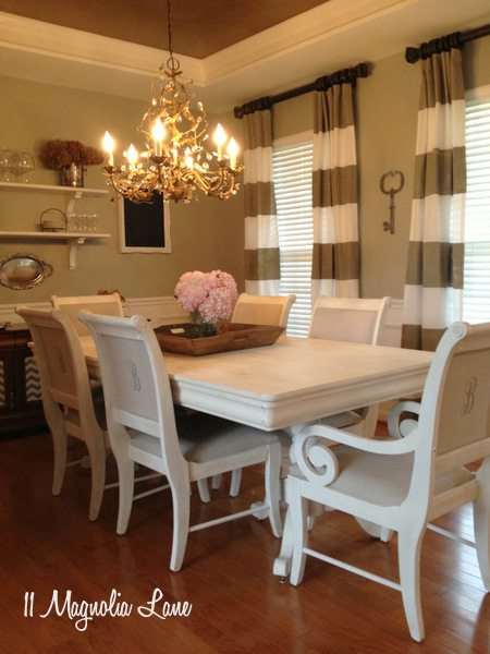 White Chalk Painted Dining Room Table amp Monogrammed Chairs