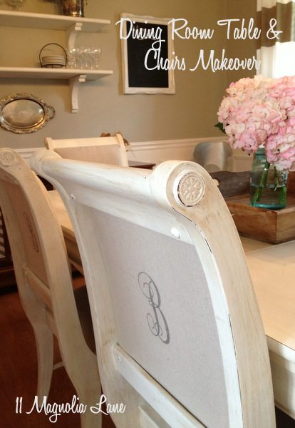 My Dining Room Table & Chairs–Painted White