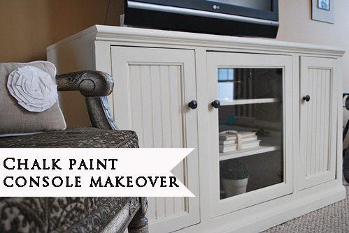 chalk paint makeover of TV entertainment console