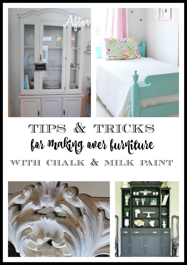Tips and tricks including tutorial and examples of painted projects, for using chalk paint and milk paint (and even regular latex paint) to paint furniture.