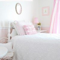vintage pink and white girls room
